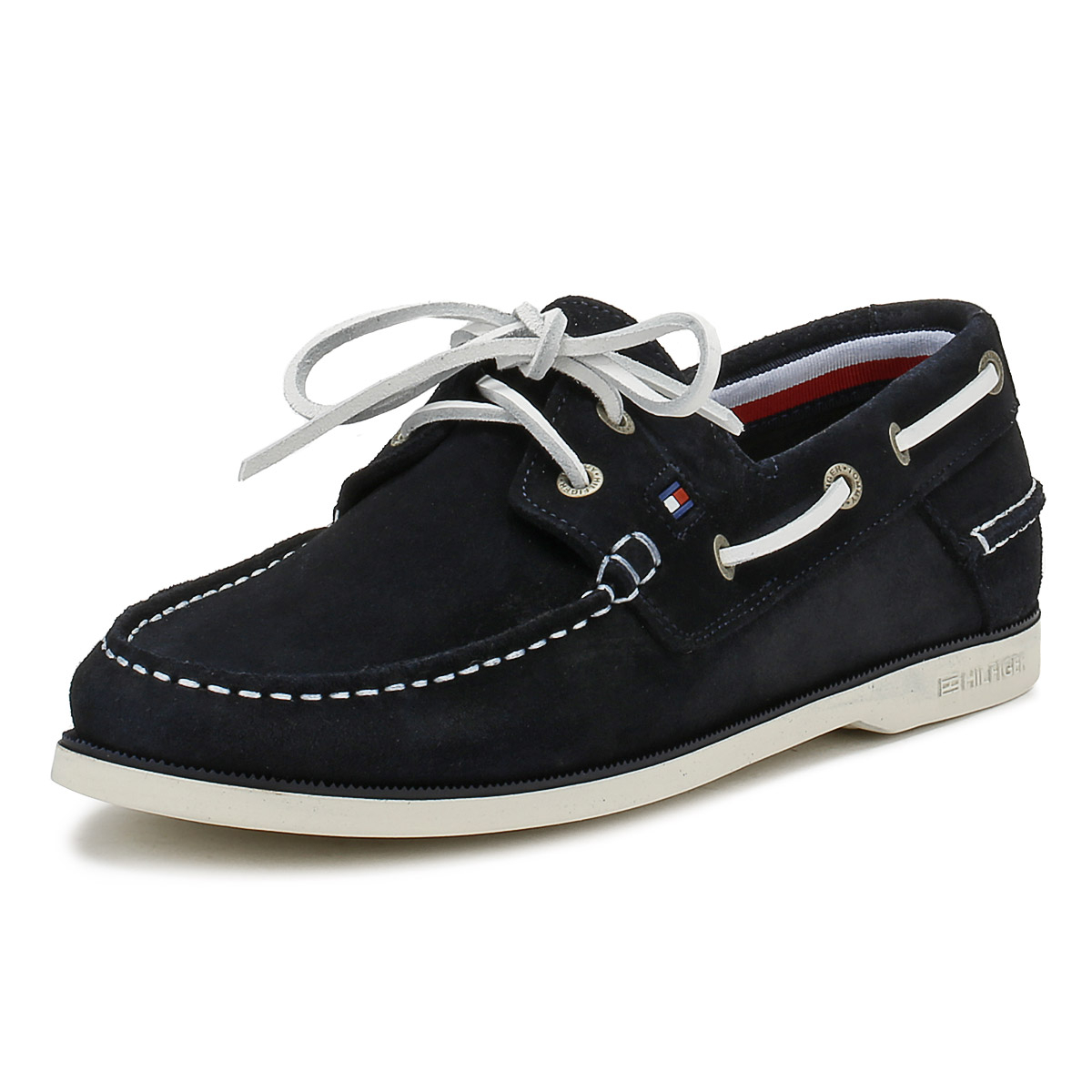 70a7a3e9a Tommy Hilfiger Mens Boat Shoes Midnight Navy Blue Classic Suede Casual