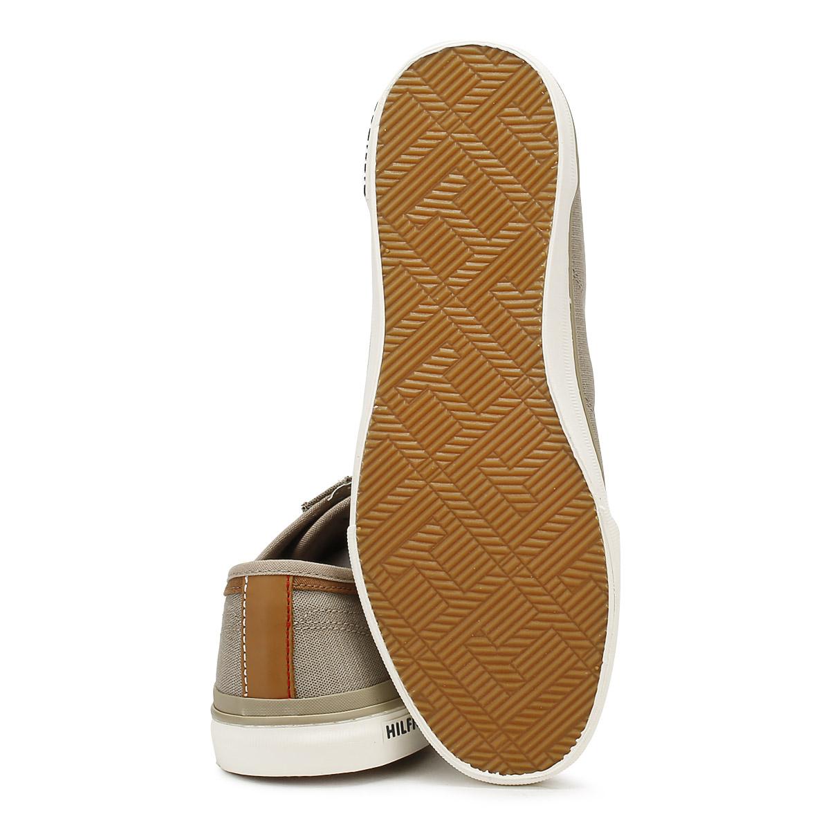 6cbe40bb7 Tommy Hilfiger Mens Textile Trainers Cobblestone Grey Core Lace Up Casual  Shoes