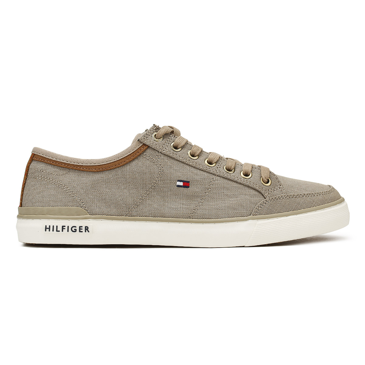Tommy Hilfiger Mens Textile Trainers Cobblestone Grey Core Lace Up Casual Shoes