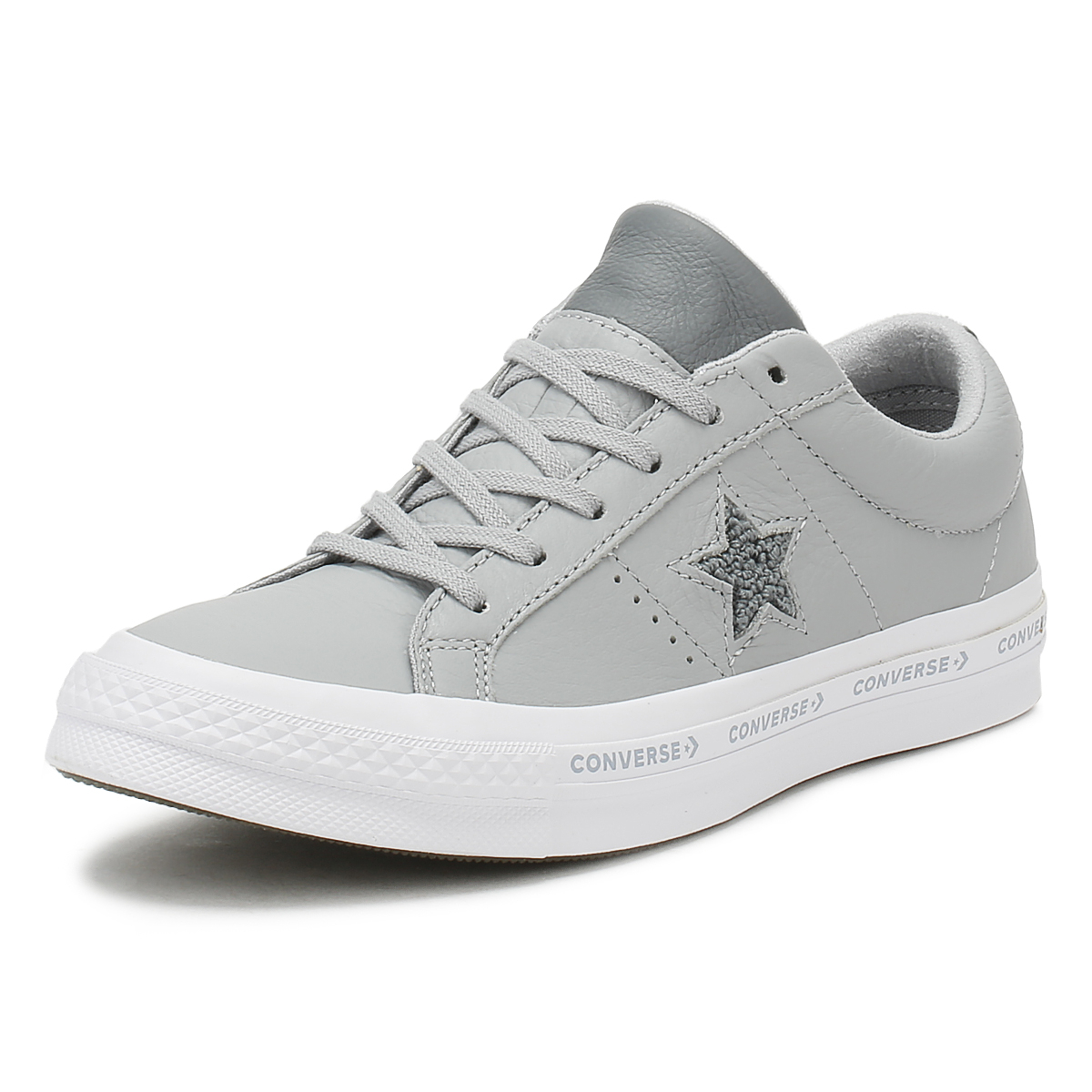 68201e2801f53f Details about Converse One Star Mens Ox Trainers Wolf Grey Pinstripe  Leather Skate Shoes