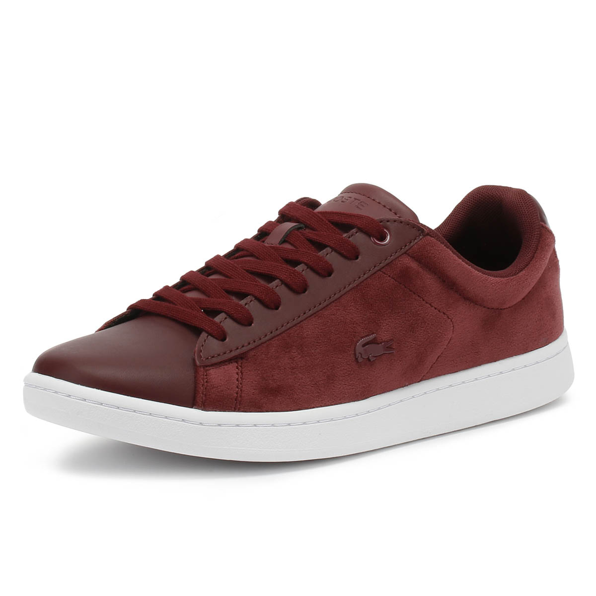Lacoste Carnaby EVO 318 8 Womens Burgundy & White Trainers Sport Casual shoes