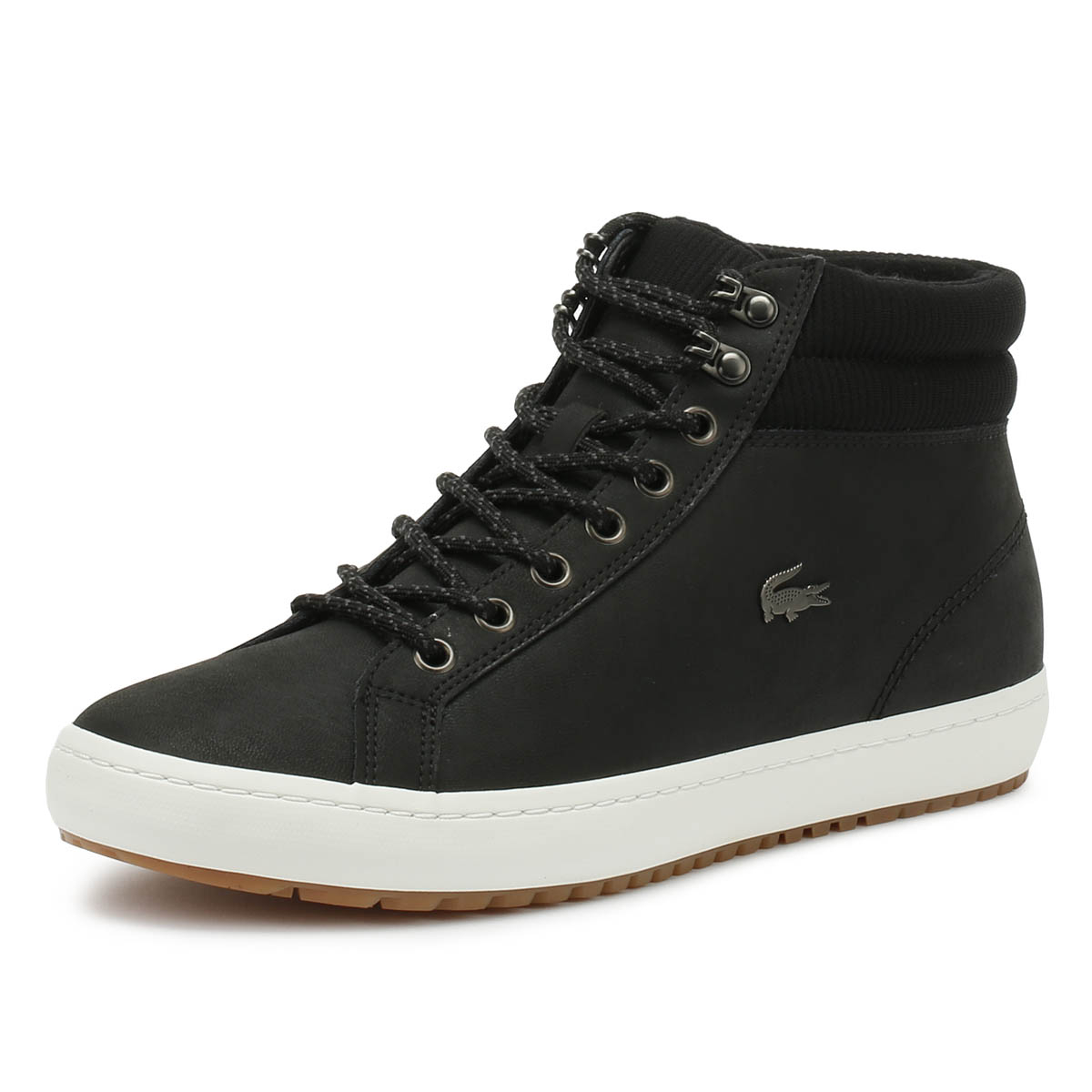 791637ef3 Details about Lacoste Mens Trainers Straightset Insulac 318 1 Black Sport  Casual Shoes