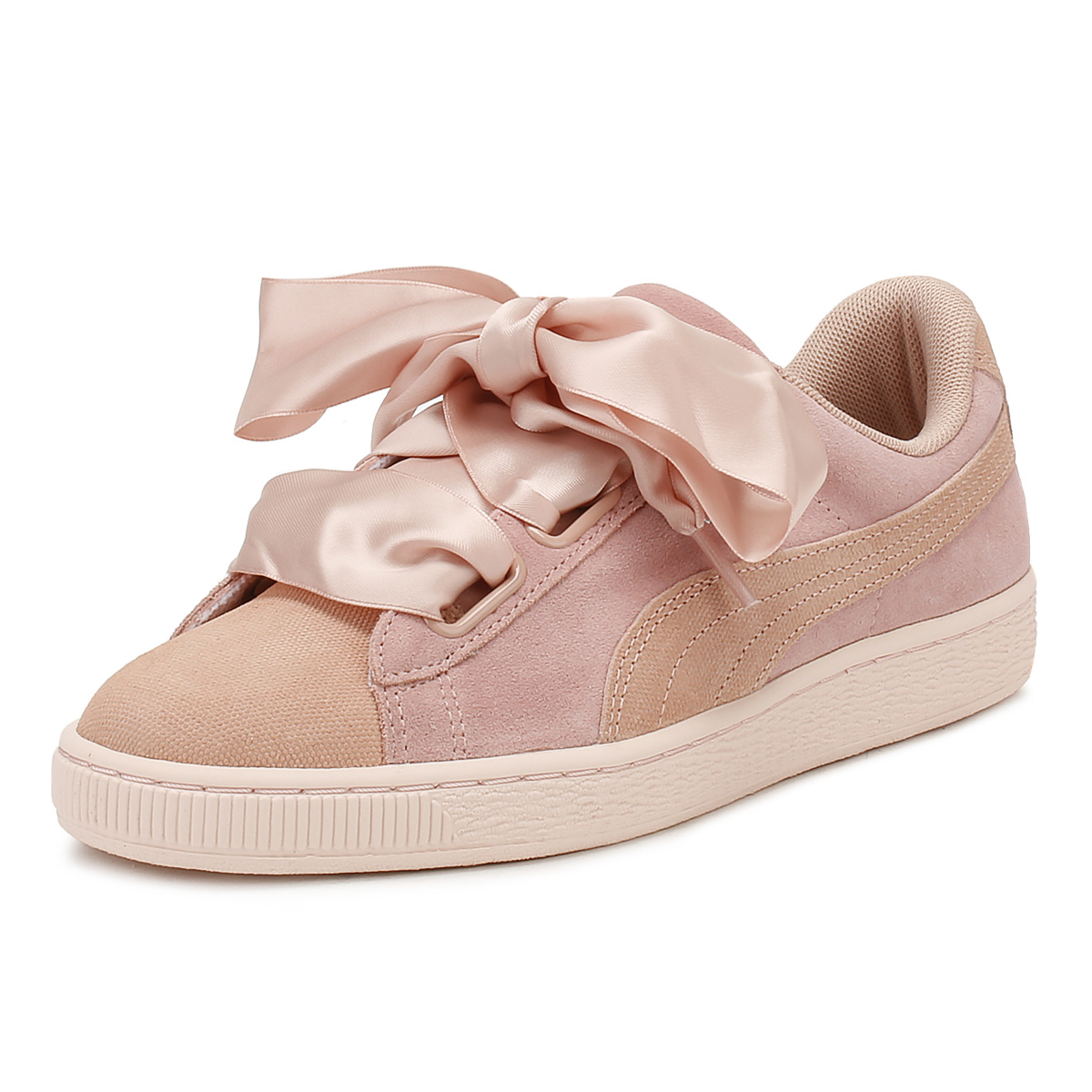9d29933f11092c Details about PUMA Womens Peach   Pearl Heart Pebble Suede Trainers Lace Up  Sport Casual Shoes