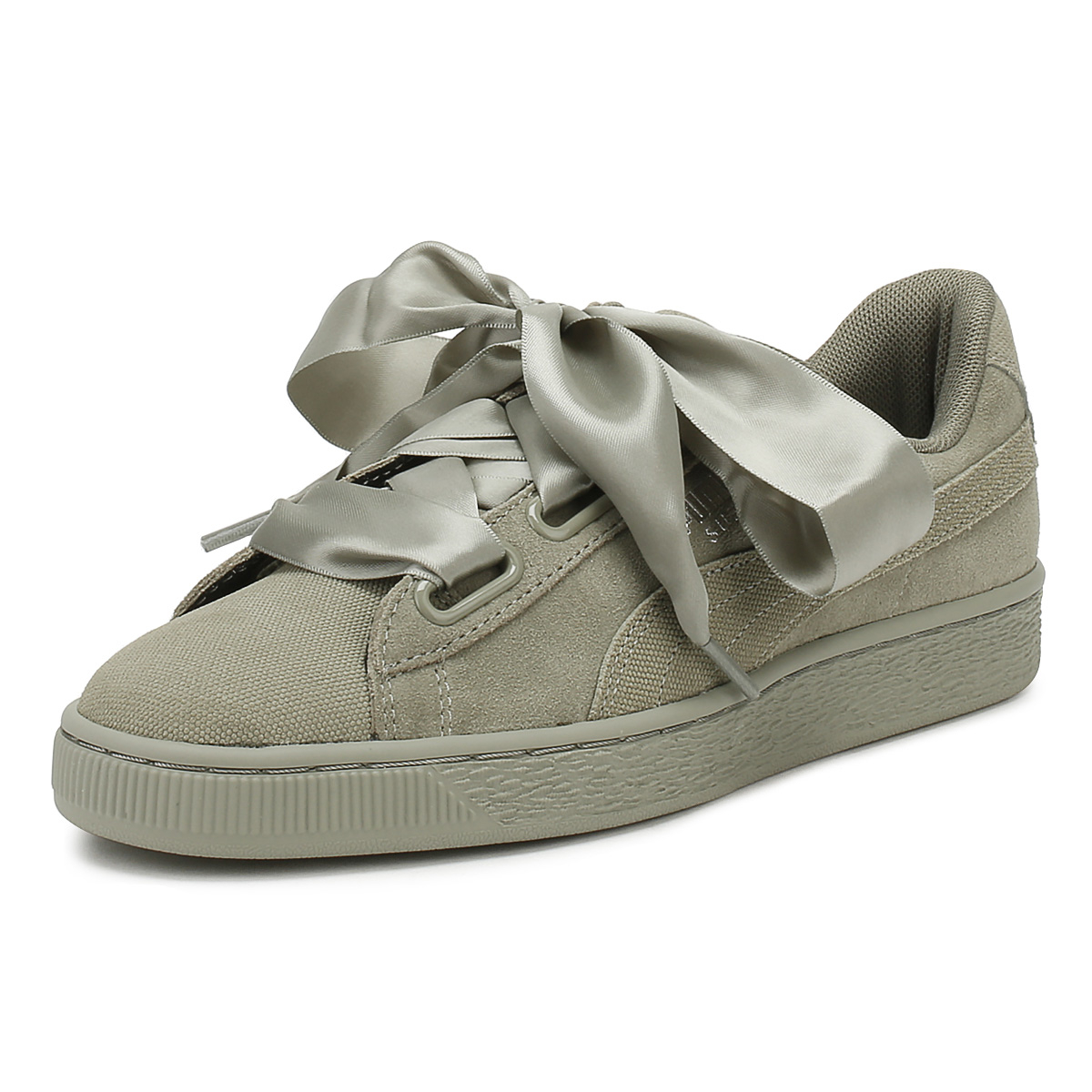 598d18938904 Details about PUMA Womens Rock Grey Heart Pebble Suede Trainers Lace Up  Sport Casual Shoes