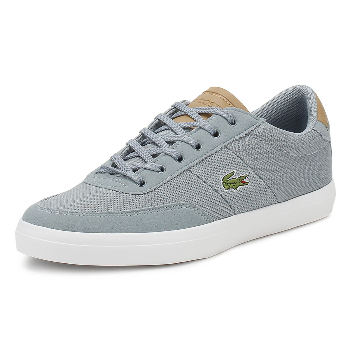 e1032eb4cce470 Details about Lacoste Mens Trainers Grey   Light Tan Court Master 118 1  Lace Up Casual Shoes