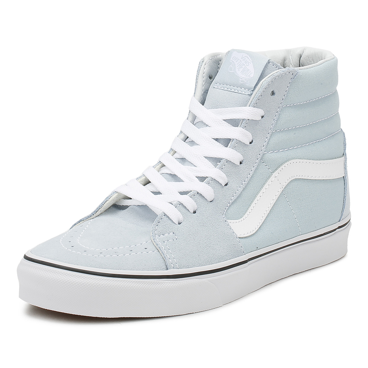 b5528081bdd3 Details about Vans Womens Baby Blue   True White SK8-Hi Trainers Lace Up  Sport Casual Shoes