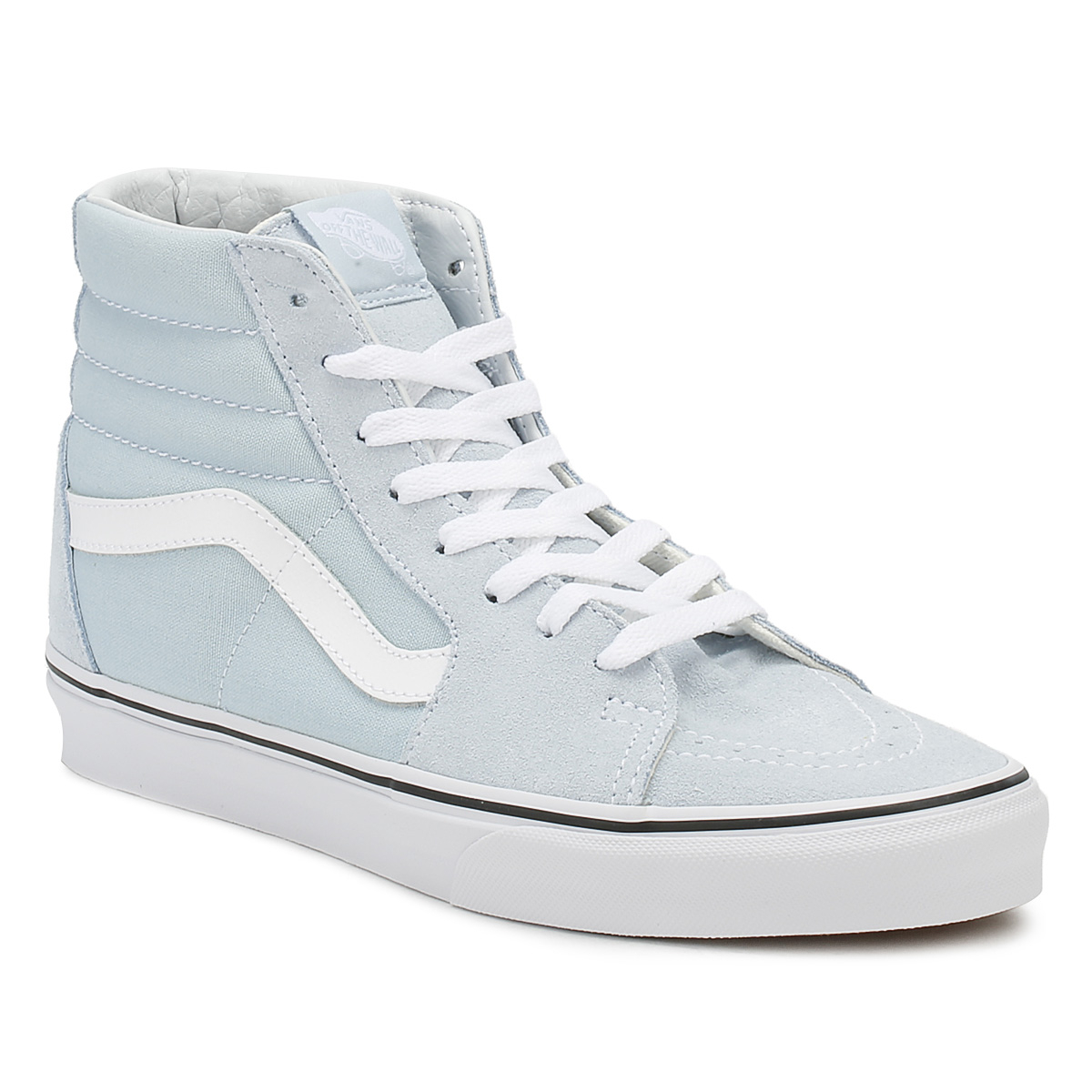 ad0ccc164110 Vans Womens Baby Blue   True White SK8-Hi Trainers Lace Up Sport Casual  Shoes