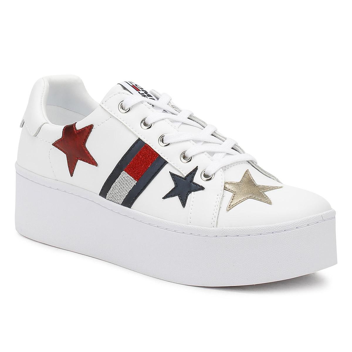 8959c434323fc Tommy Hilfiger Womens Trainers White Jeans Icon Sparkle Lace Up ...