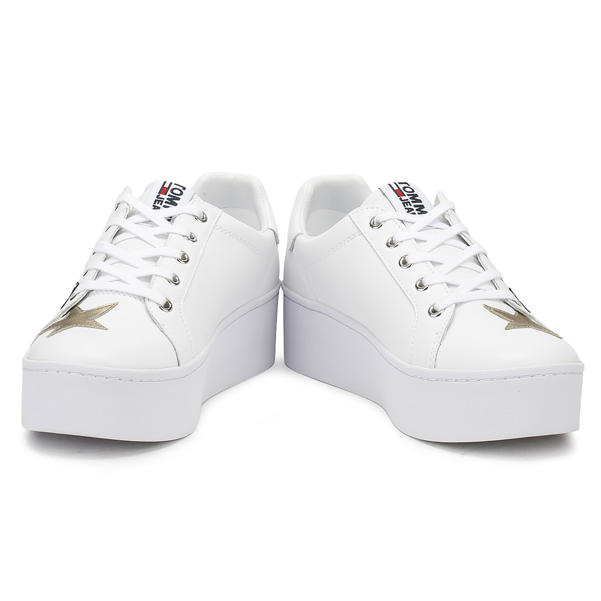 8f8e94561b1a6 Tommy Hilfiger Womens Trainers White Jeans Icon Sparkle Lace Up Casual Shoes