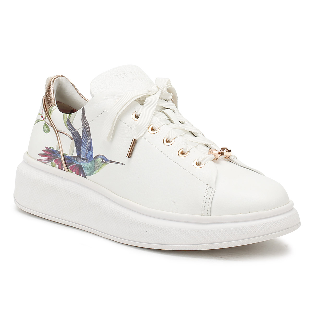 679562c69cd Ted Baker Womens White Ailbe Trainers Ladies Lace Up Sport Casual Shoes