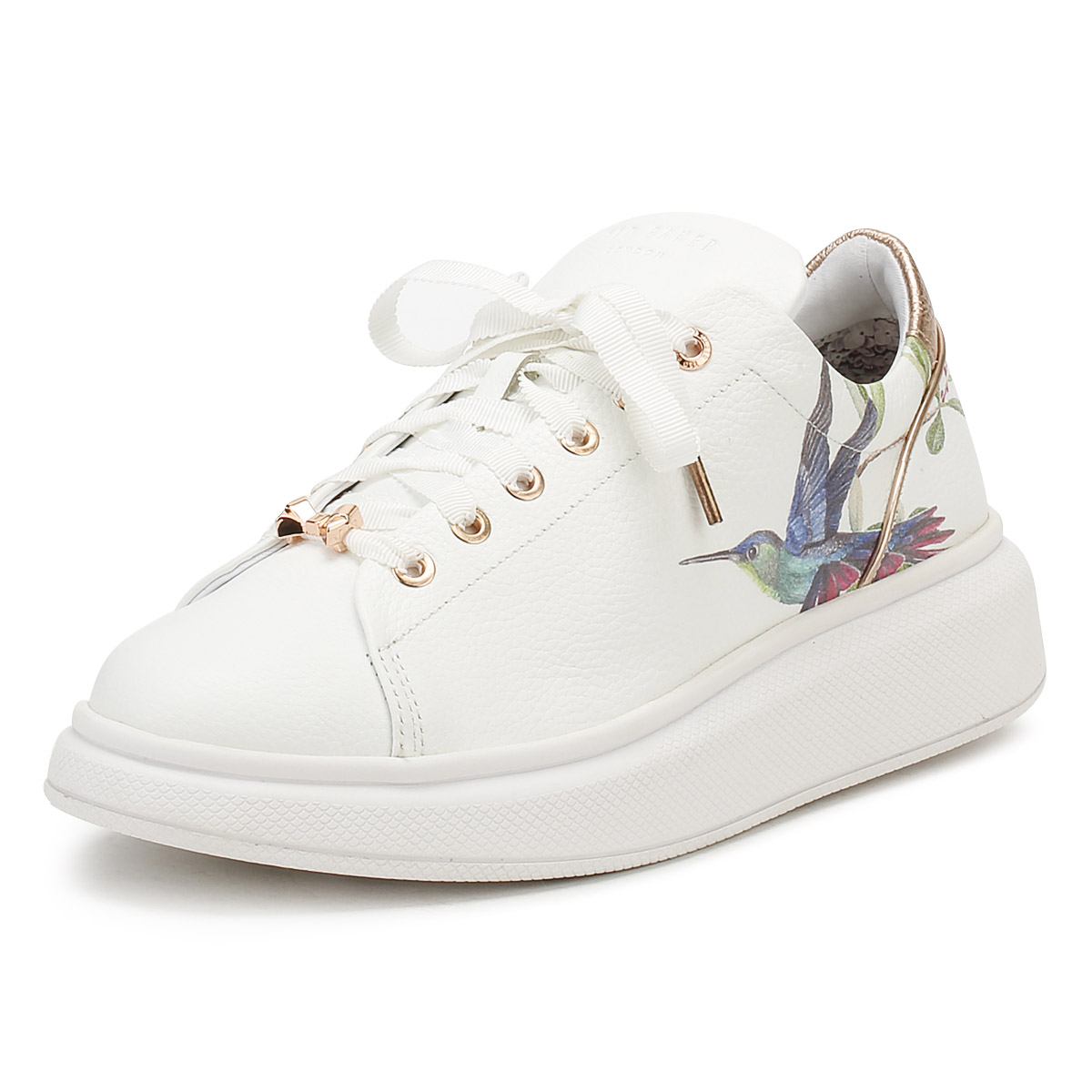 7851194427c Details about Ted Baker Womens White Ailbe Trainers Ladies Lace Up Sport  Casual Shoes
