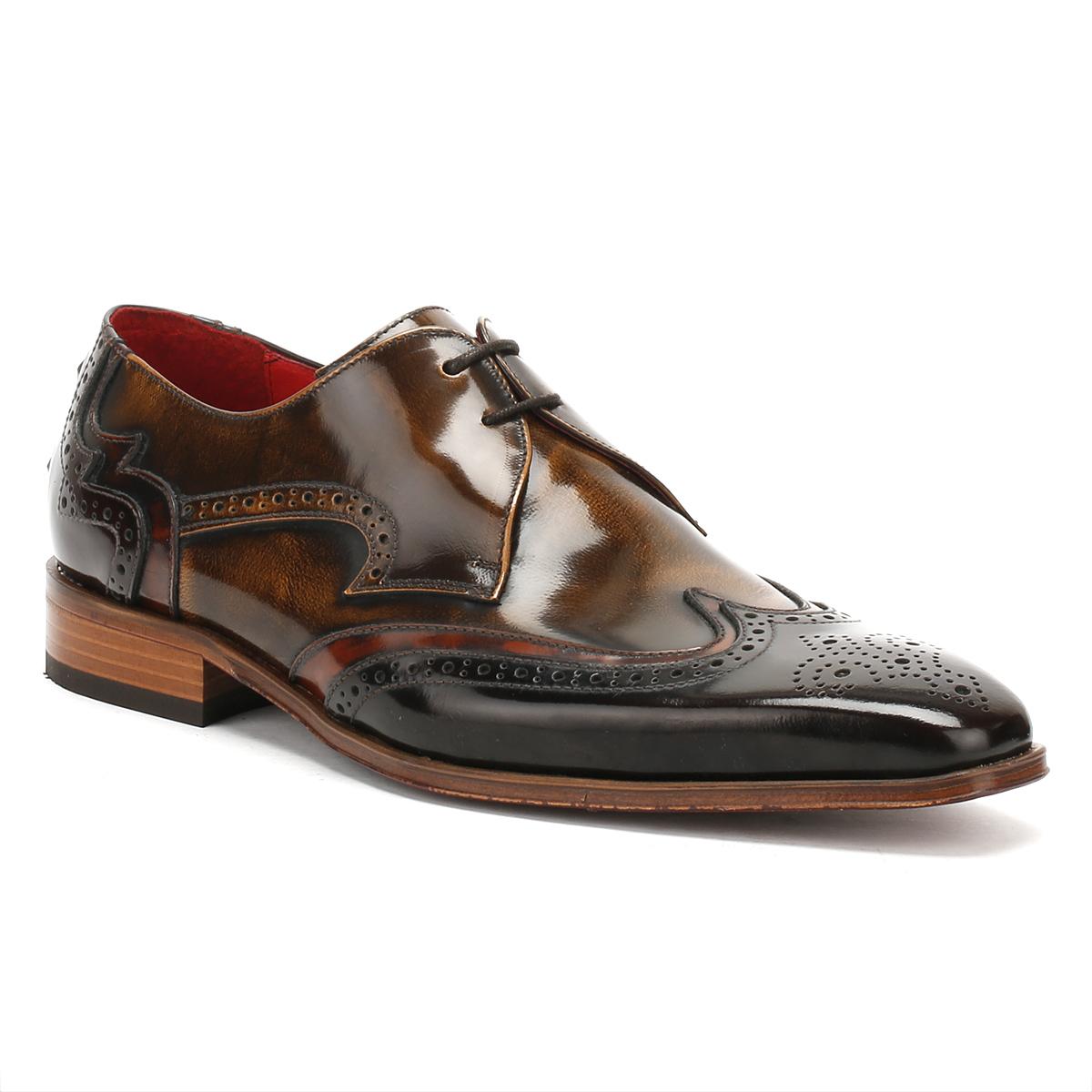 Jeffery West Mens Dark & Mid Brown Derby Upper Shoes, Brogue Details, Leather Upper Derby 2c481e