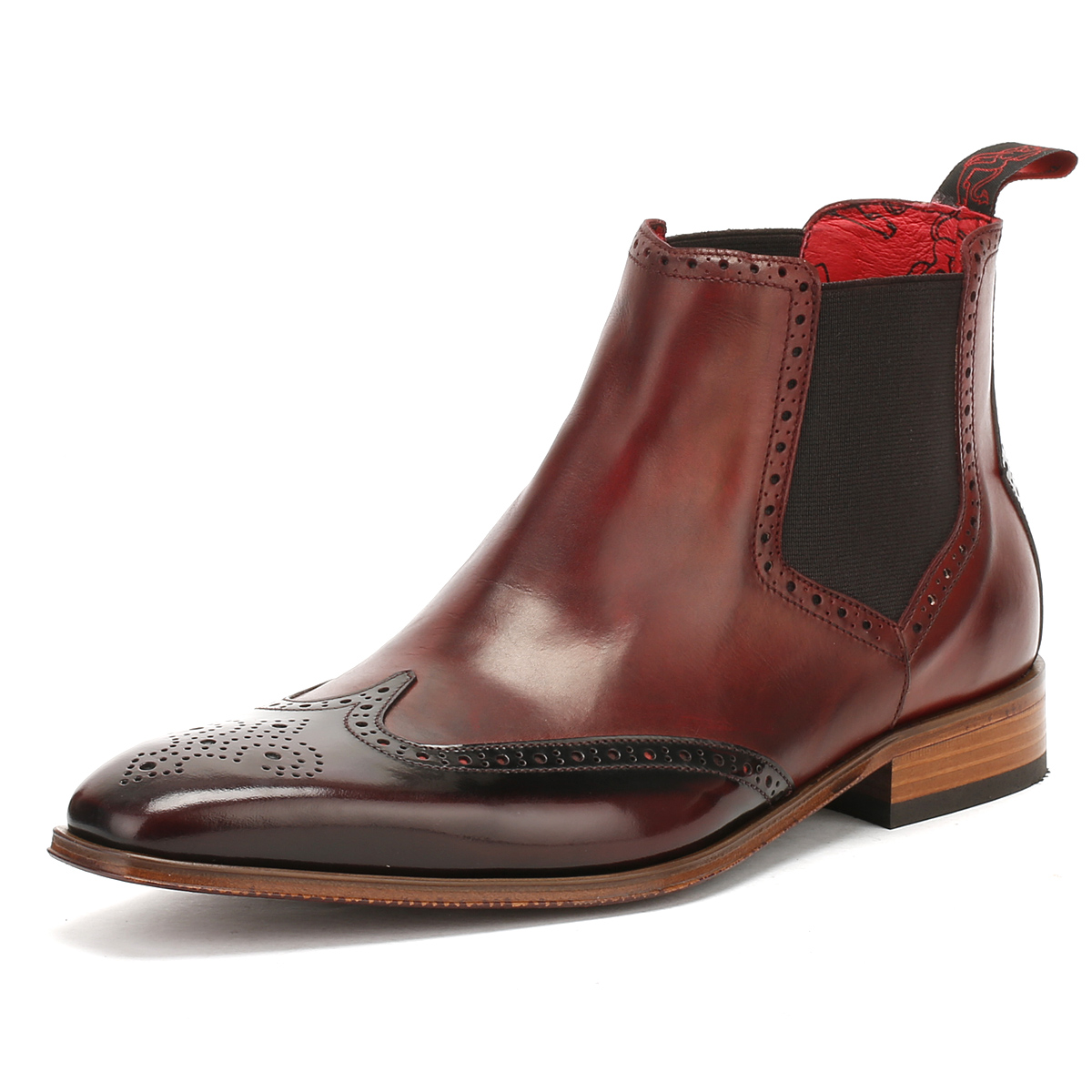 06c71f5a46 Jeffery West Mens Toledo Burgundy Chelsea Shoes Brogue Formal Winter Boots