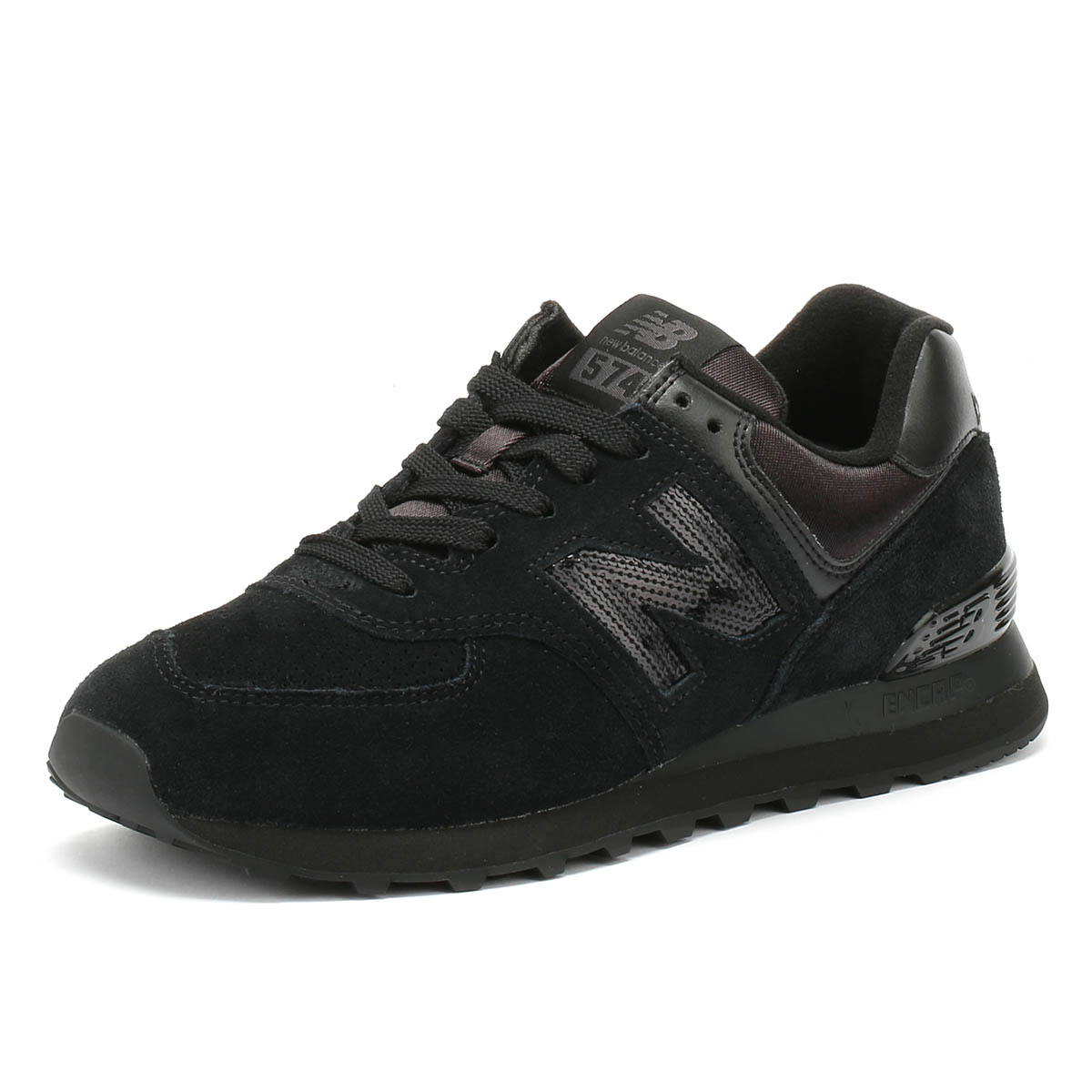 504897448f2 Details about New Balance Womens Trainers 574 Black Classic Lace Up Casual  Running Shoes