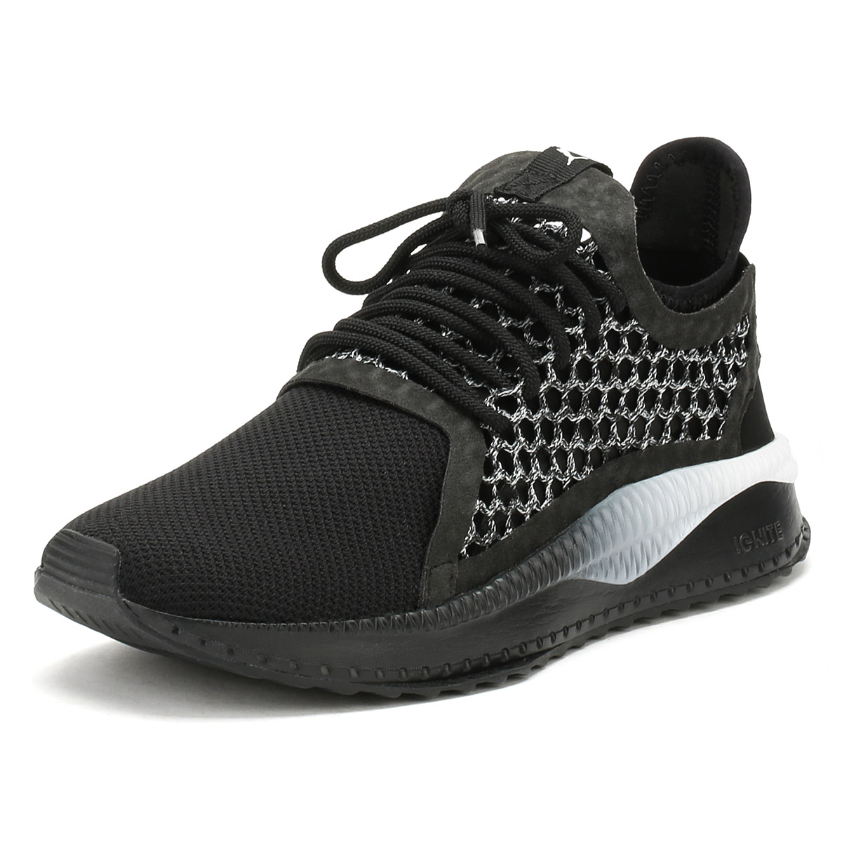 b74ee7ce34bf Details about PUMA Mens Trainers Black   White Tsugi Netfit v2 Lace Up  Sport Running Shoes
