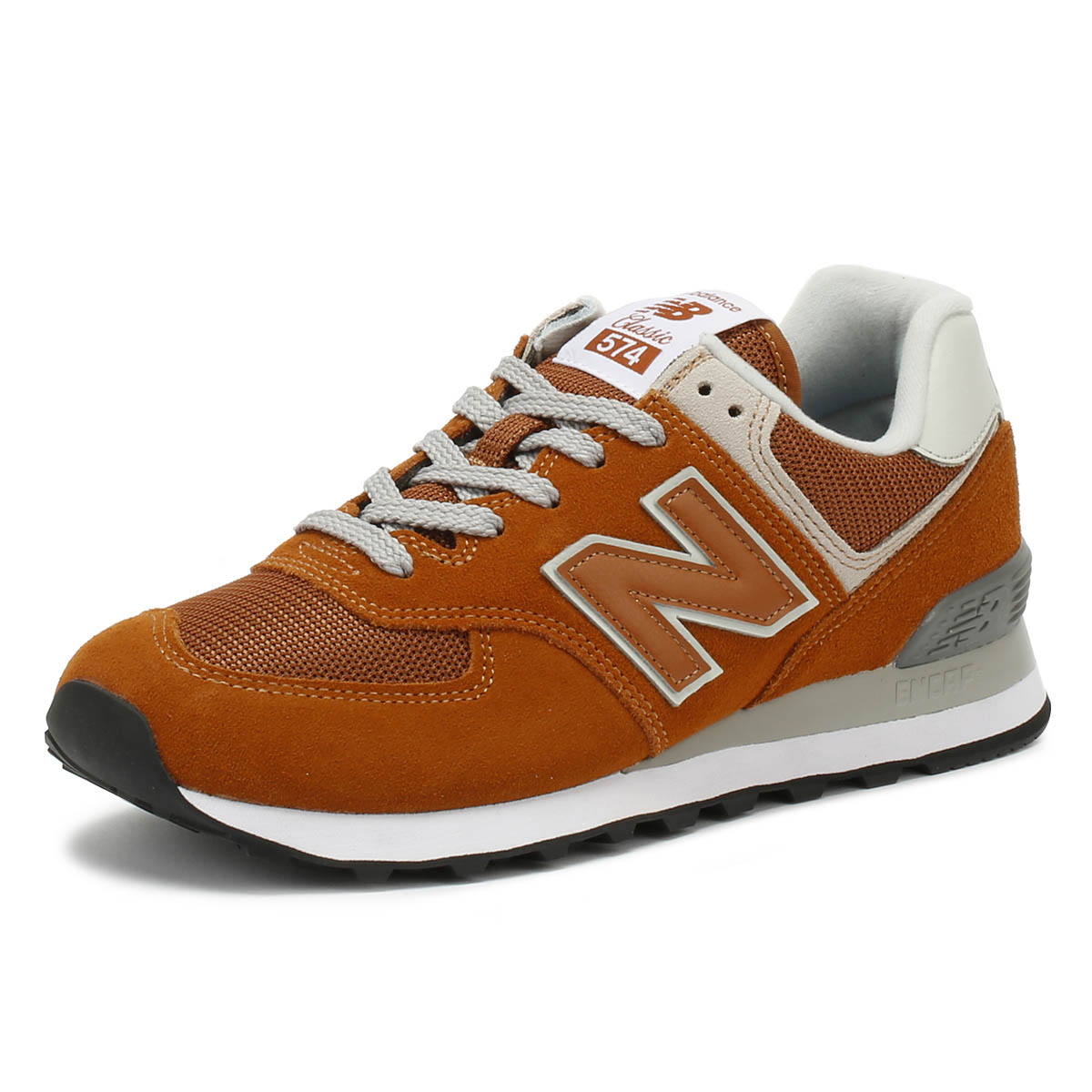 3f449a362e9e Details about New Balance Mens Trainers 574 Orange Classic Lace Up Sport  Running Shoes