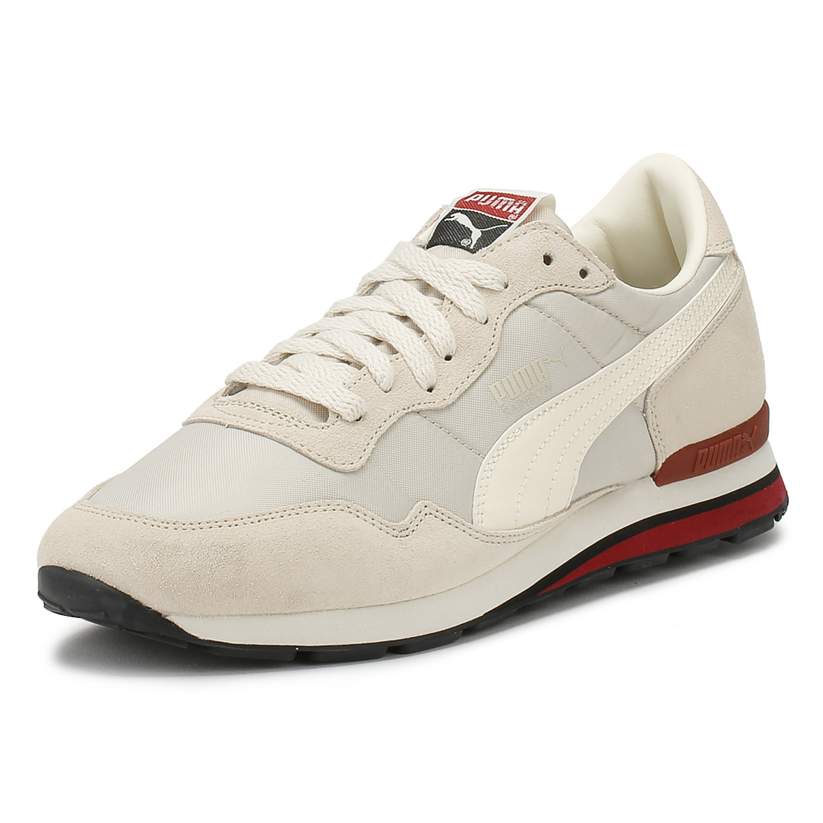 PUMA Mens SC Trainers Birch & Red Rainbow Lace Up Sport Casual Shoes