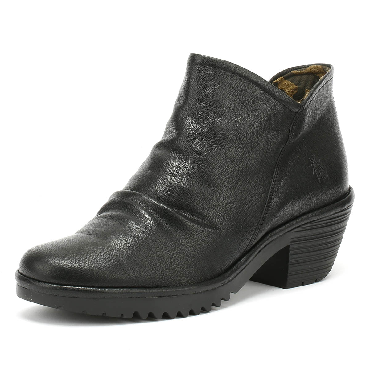 15c0cff87a3 Details about Fly London Womens Boots Black Wezo Mousse Mid Heel Winter  Ankle Shoes