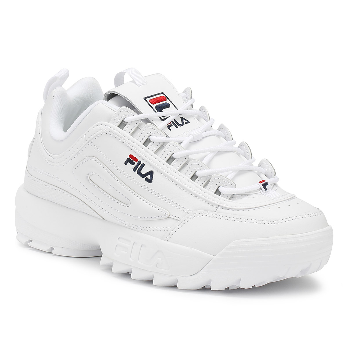 31980f9a Details about Fila Womens Trainers White Disruptor II Premium Sport Casual  Lace Up Shoes