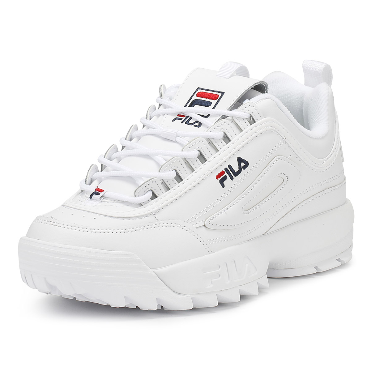 8e55c694f8b Details about Fila Womens Trainers White Disruptor II Premium Sport Casual  Lace Up Shoes