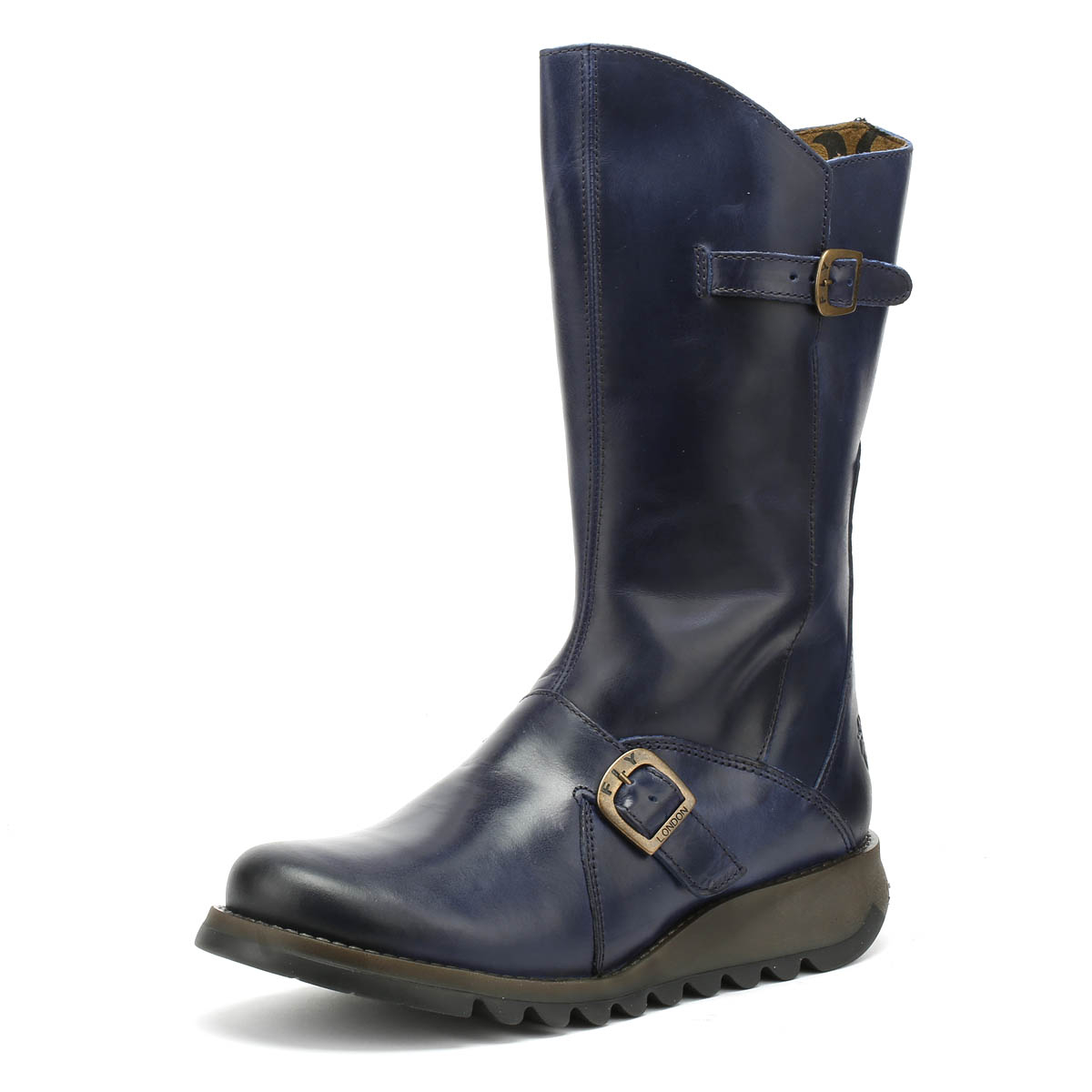 2dfcd731 Details about Fly London Womens Boots Blue Mes 2 Rug Mid Calf Buckle Winter  Ladies Shoes