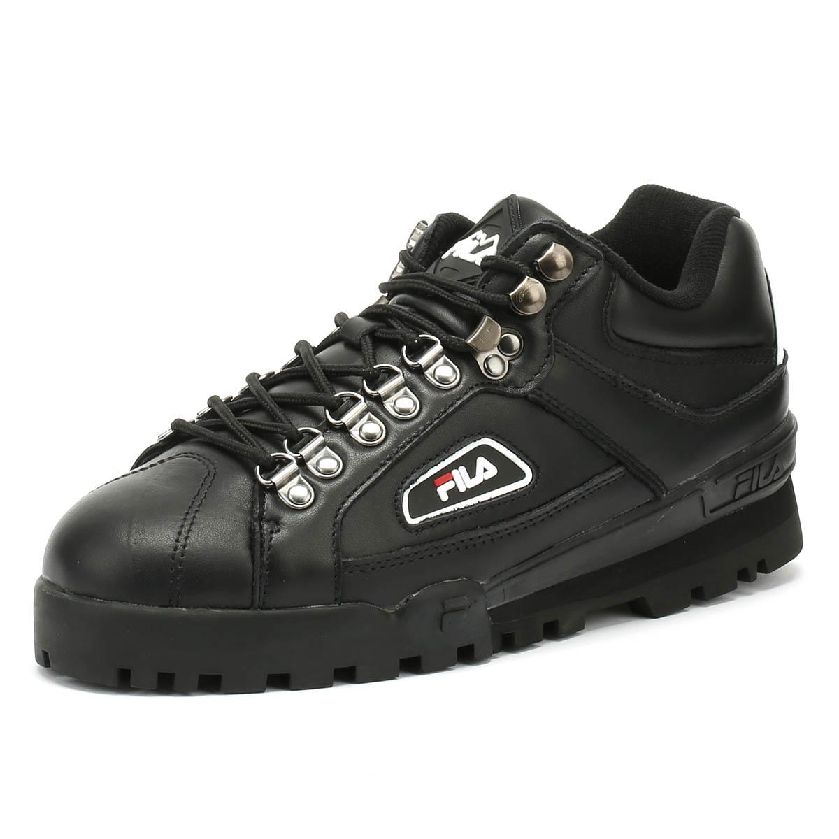 14726bf515d9 Details about Fila Unisex Trainers Black Trailblazer Lace Up Casual Sport  Shoes