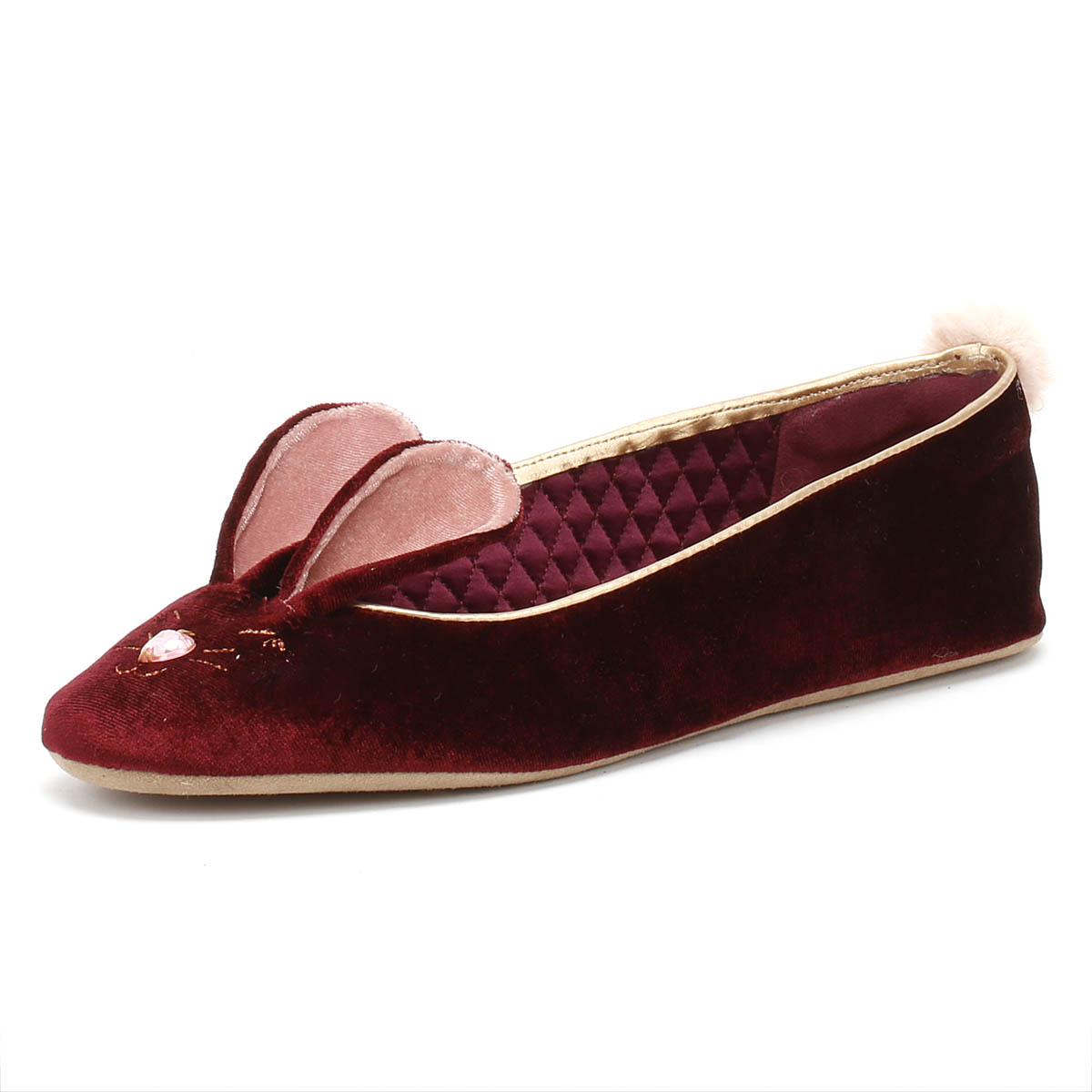Adroit Ted Baker Bhunni Womens Burgundy Slippers Casual Ladies Home Shoes