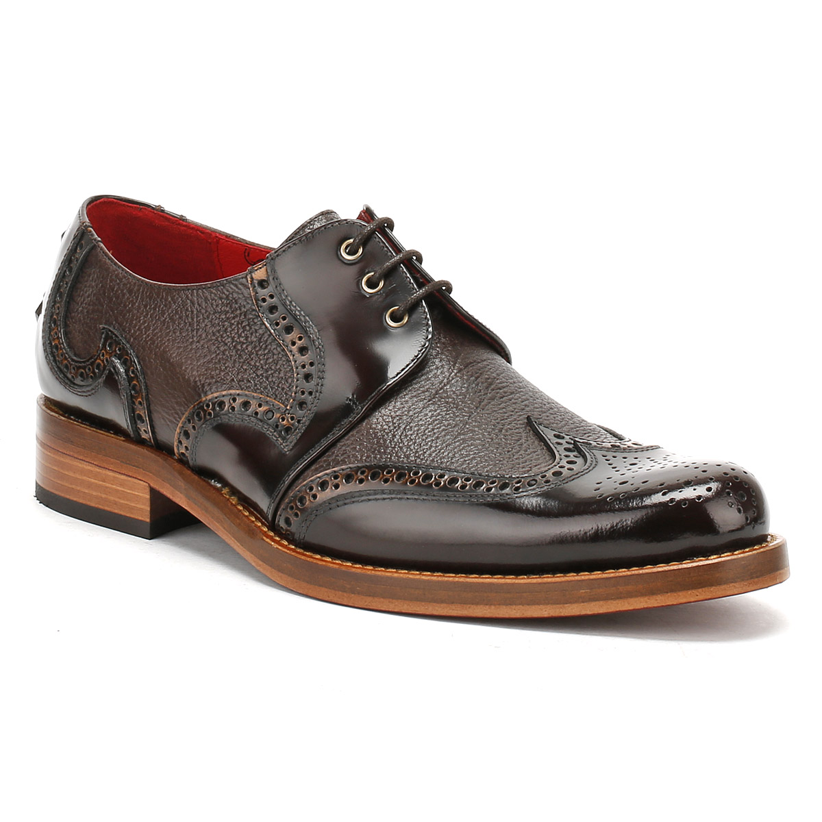 Jeffery West Mens Camel & Dark Brown & Brogue Shoes, Lace Up & Brown Premium Leather 7bcd1d