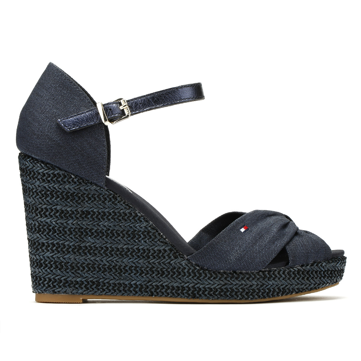 Tommy Metallic Hilfiger Damenschuhe Sandales Midnight Navy Metallic Tommy Elena Summer Wedge Schuhes 9d2914