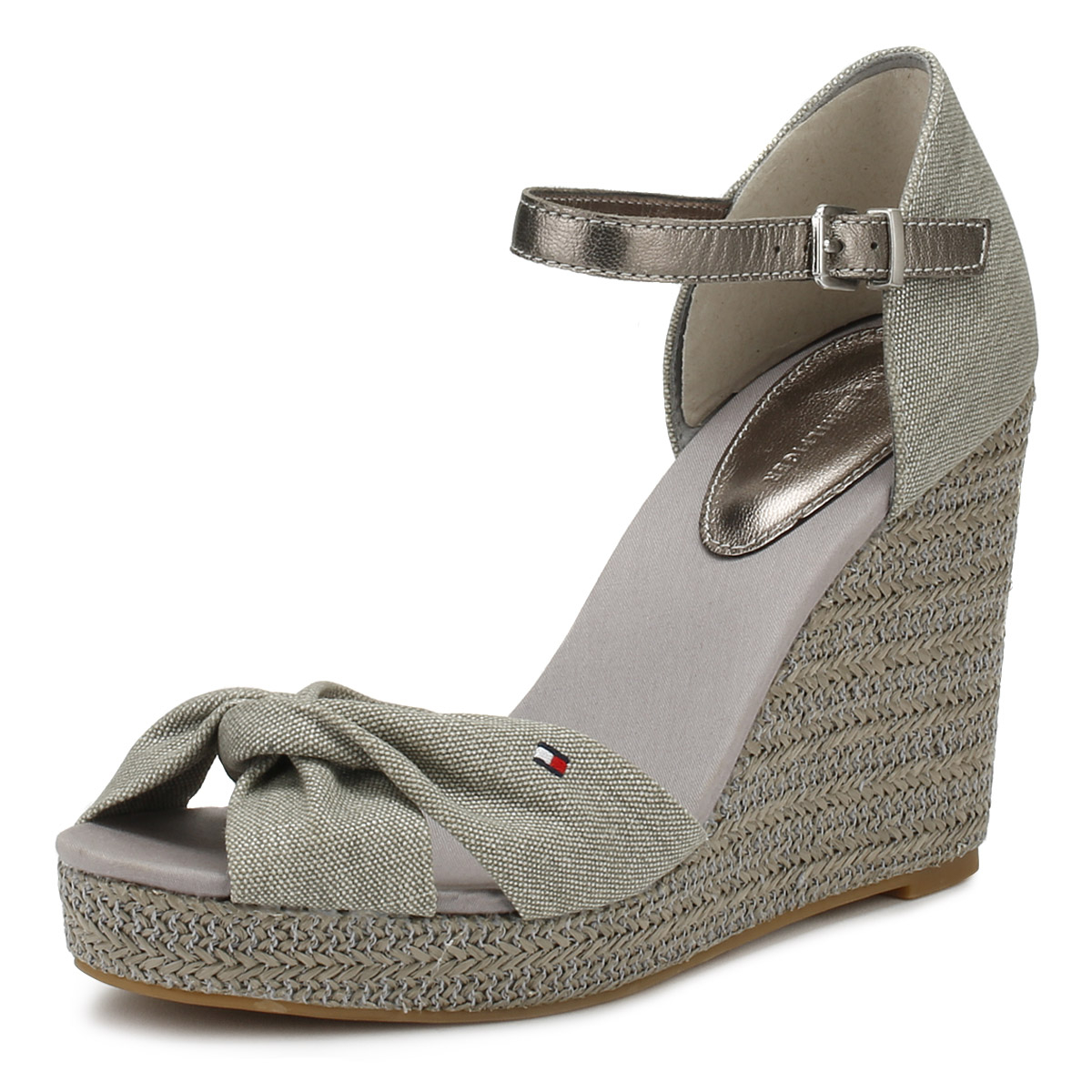 4915fb59d Details about Tommy Hilfiger Womens Sandals Light Grey Metallic Elena  Summer Wedge Shoes