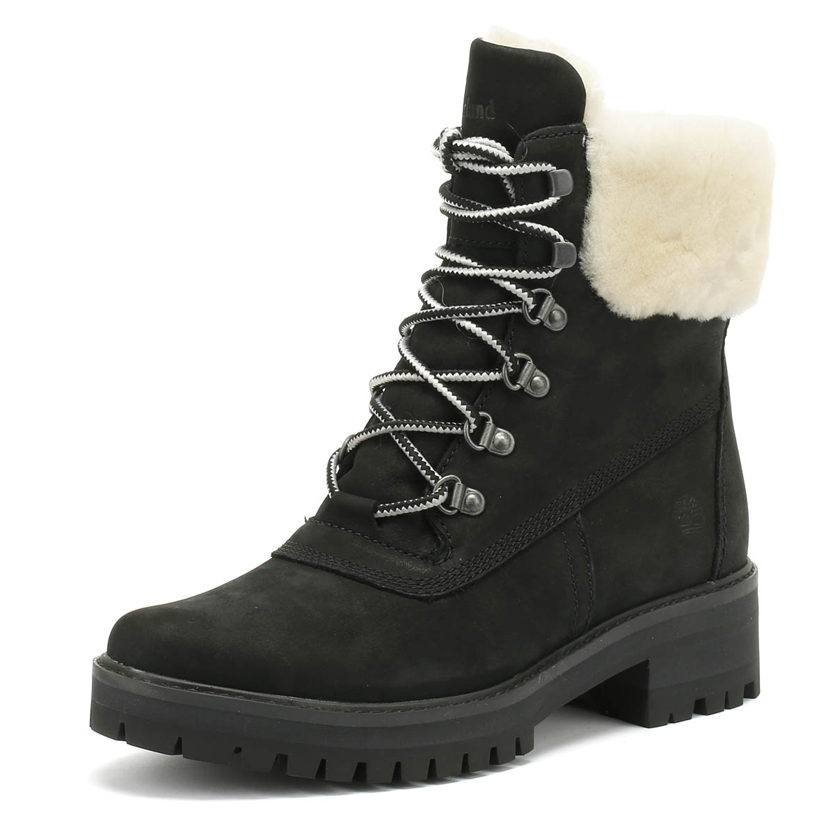 c5447ff3c0f Details about Timberland Courmayeur Valley Womens Boots Shearling Black  Ladies WInter Shoes