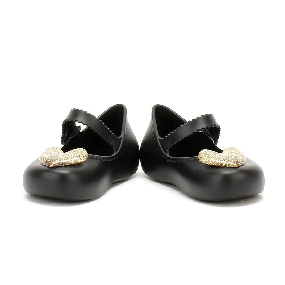 Zaxy Infants Glitter Heart Ballerina Pumps, Kids PVC Shoes Black or Pink