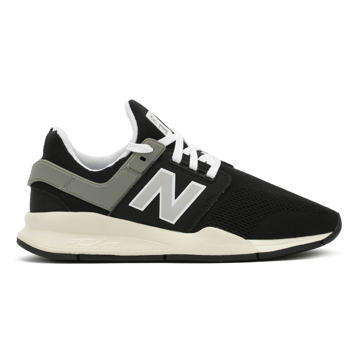 a3e6abdd Details about New Balance Mens Trainers 247 Black & White Lace Up Sport  Casual Running Shoes