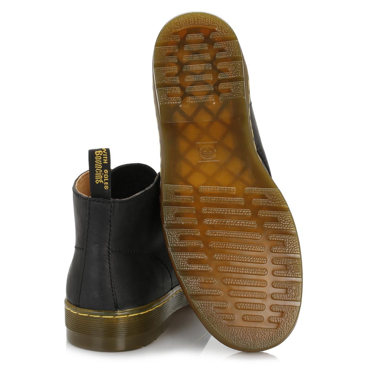 Dr. Martens Botas Desierto Para Hombre Negro Cabrillo Cuero Cuero Cuero Zapatos al tobillo con Cordones 487642
