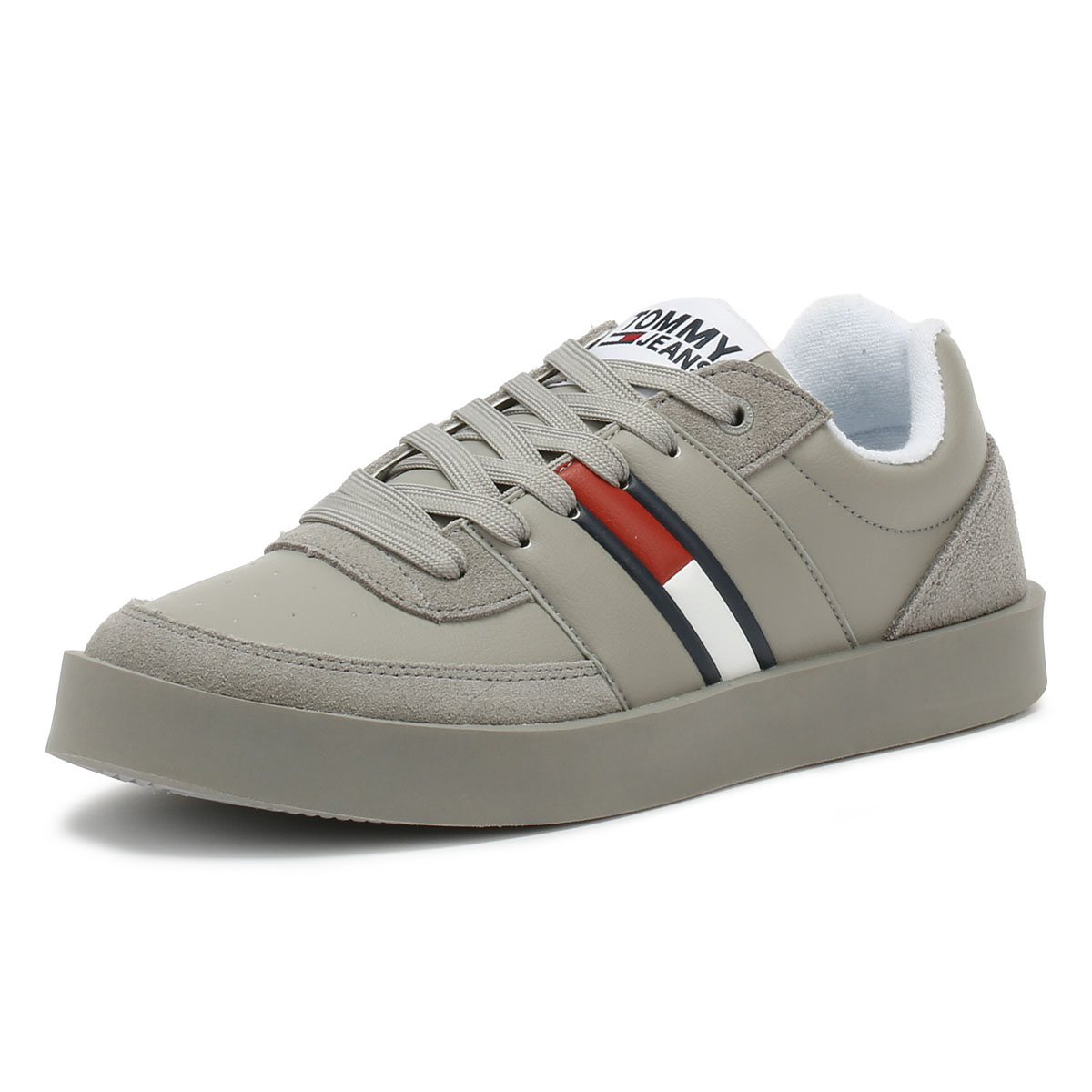 df57b93f92f8bd Details about Tommy Hilfiger Jeans Light Mens Trainers Drizzle Grey Lace Up  Sport Casual Shoes
