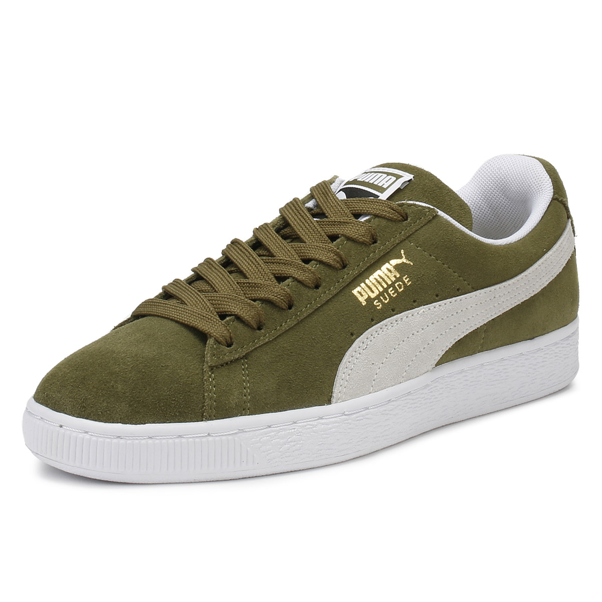 4b8017fb856c Details about PUMA Mens Classic Trainers Olive Green Suede Lace Up Sport  Casual Shoes