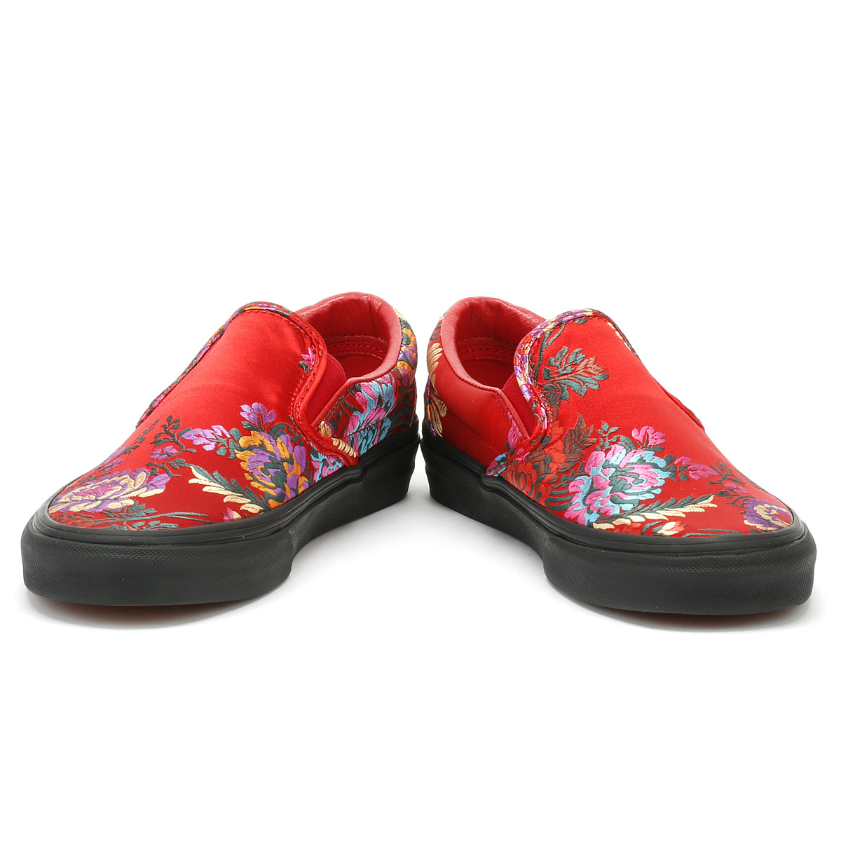 955b6851f24 Vans Classic Slip on Festival Satin Womens Red Trainers Casual Skate Shoes