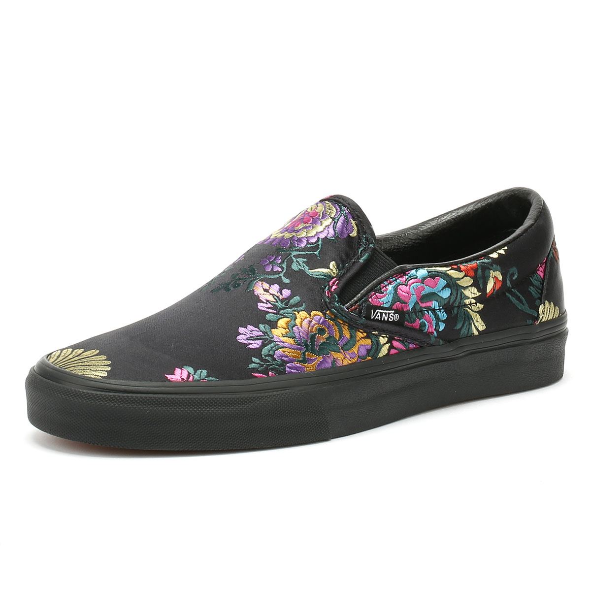 d5cdb55acd Details about Vans Classic Slip on Festival Satin Womens Black Trainers  Casual Skate Shoes