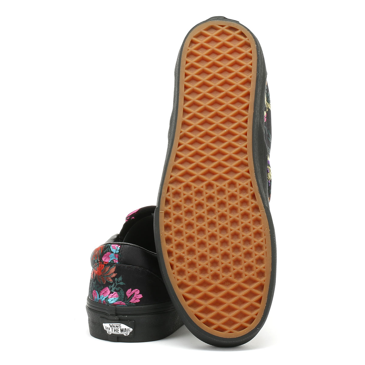 8e9b4c3df9 Vans Classic Slip on Festival Satin Womens Black Trainers Casual Skate Shoes