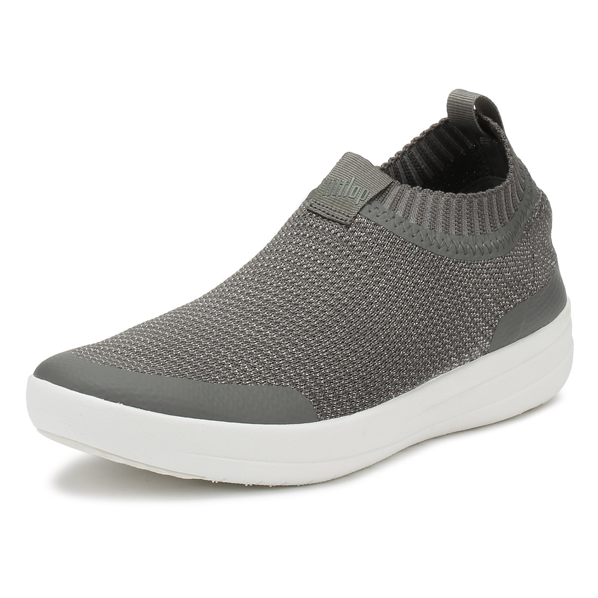 4aa04c261 Details about FitFlop Womens Charcoal   Metallic Uberknit Slip On Trainers  Casual Shoes