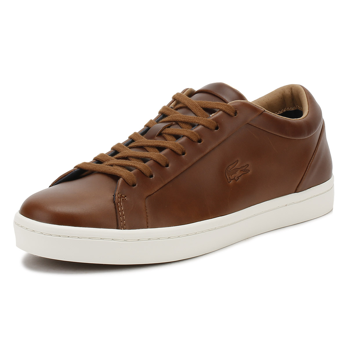 2484f5a5e628c Details about Lacoste Mens Brown Straightset 317 Trainers