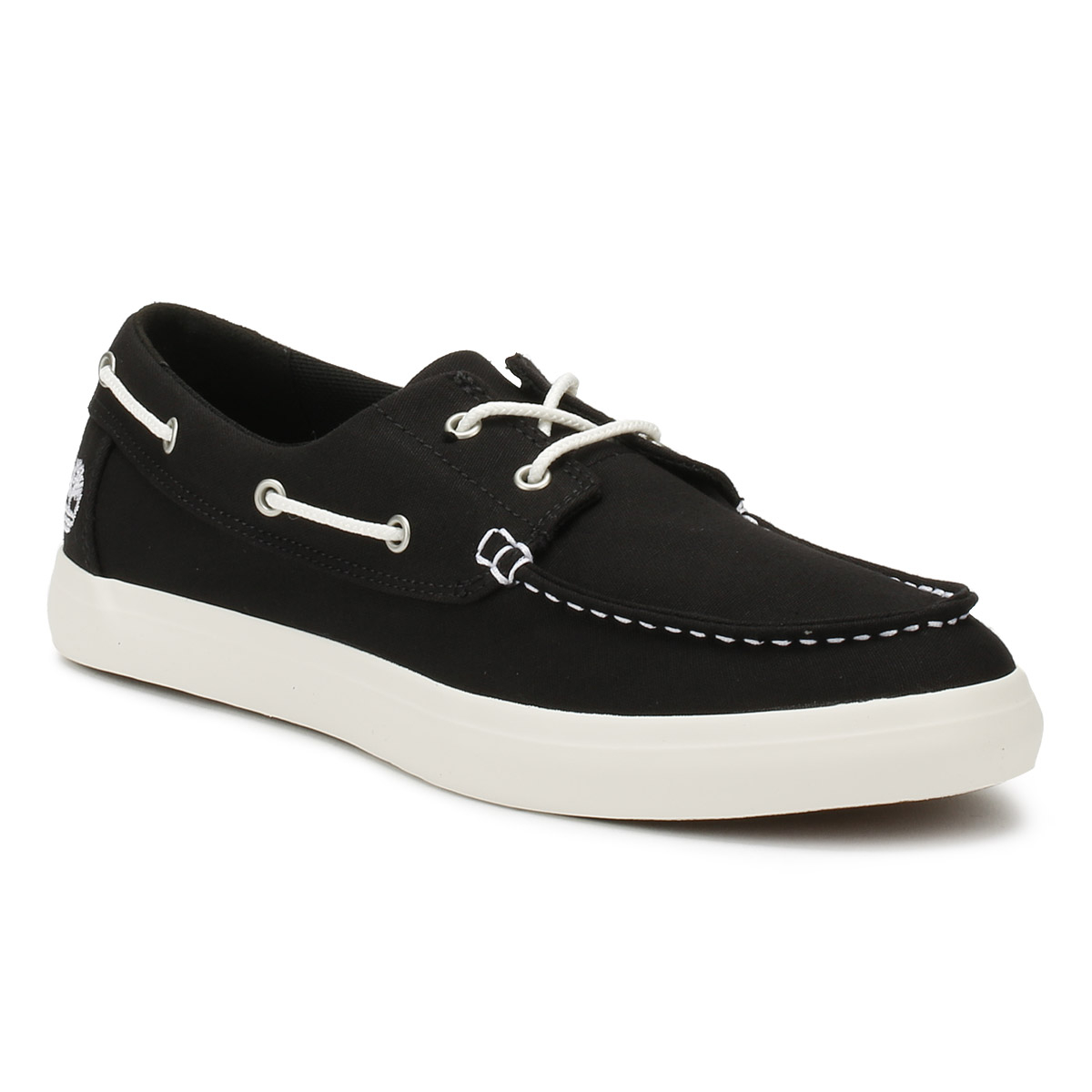 Timberland-Mens-Boat-Shoes-Black-Union-Wharf-Canvas-Lace-Up-Casual