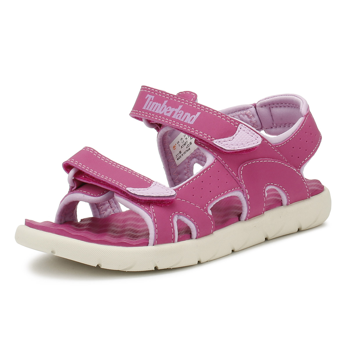6f75cdc8eb1 Details about Timberland Junior Sandals Pink Perkins Row 2-Strap Kids  Summer Shoes