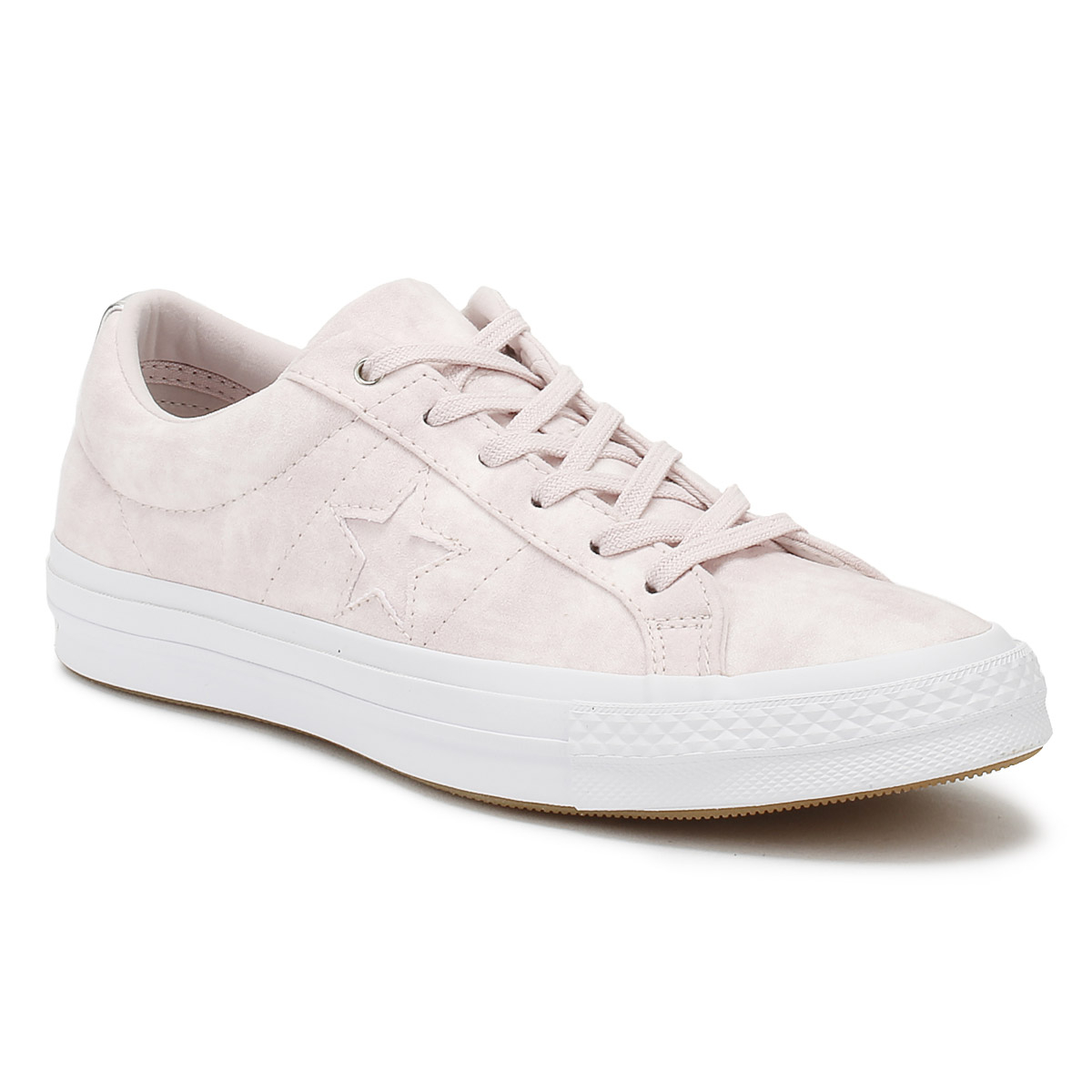 Converse One Star Womens Ox Trainers Barely Rose Canvas Lace Up Skate Shoes