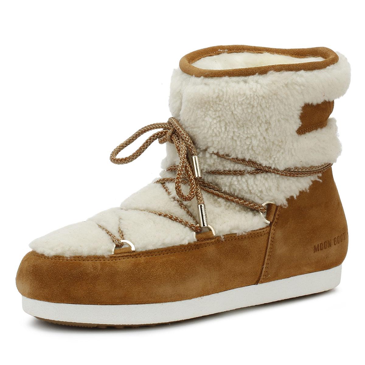 Moon bota lado lejano Baja Mujer botas Zapatos De Nieve tan Shearling caliente de invierno