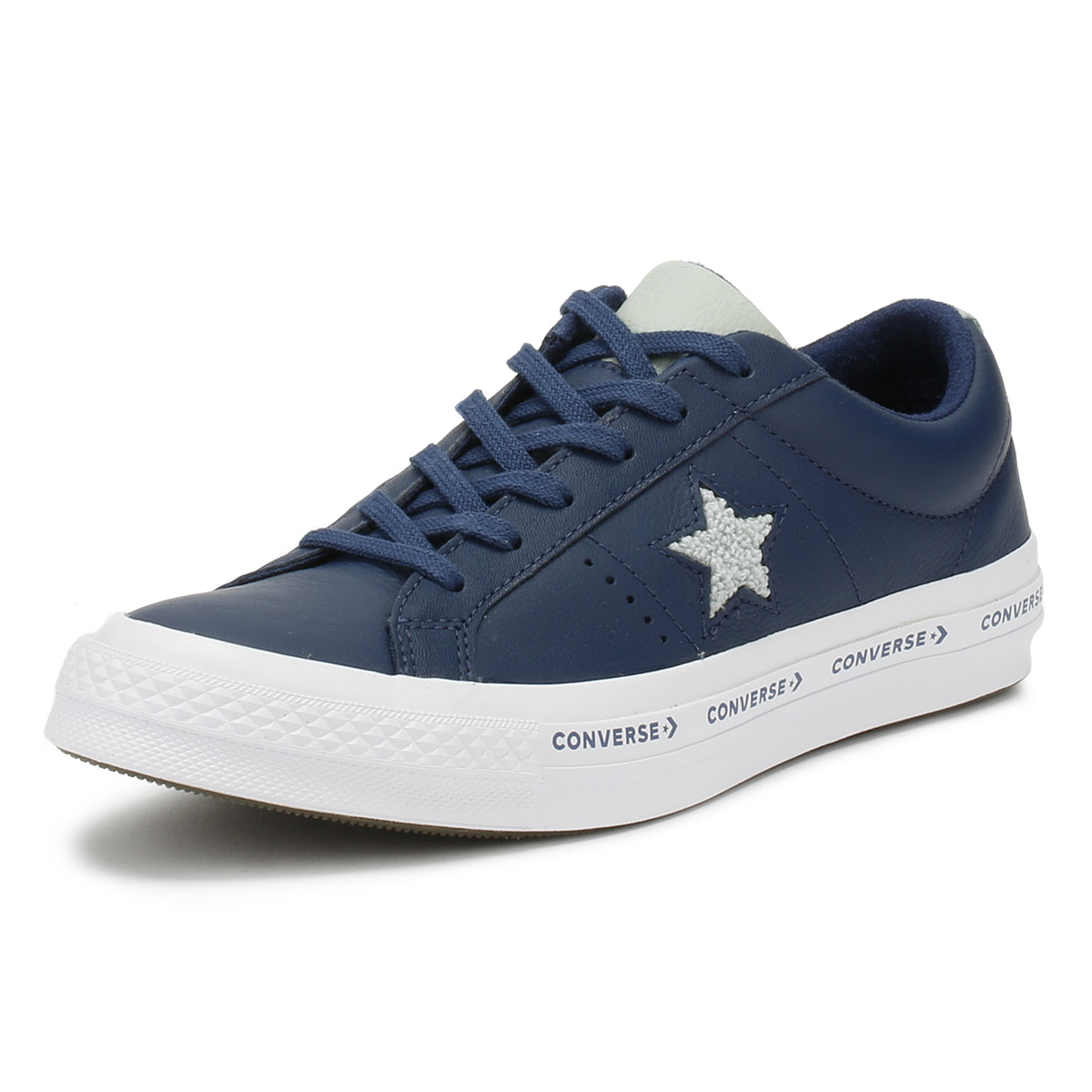090a16335b48 Details about Converse One Star Mens Ox Trainers Navy Blue Pinstripe  Leather Skate Shoes
