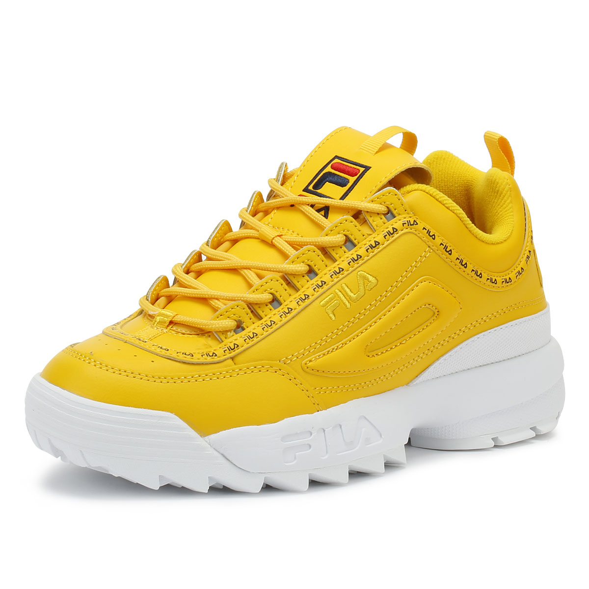 d893baba Details about Fila Disruptor II Premium Repeat Womens Citrus Yellow  Trainers Casual Shoes