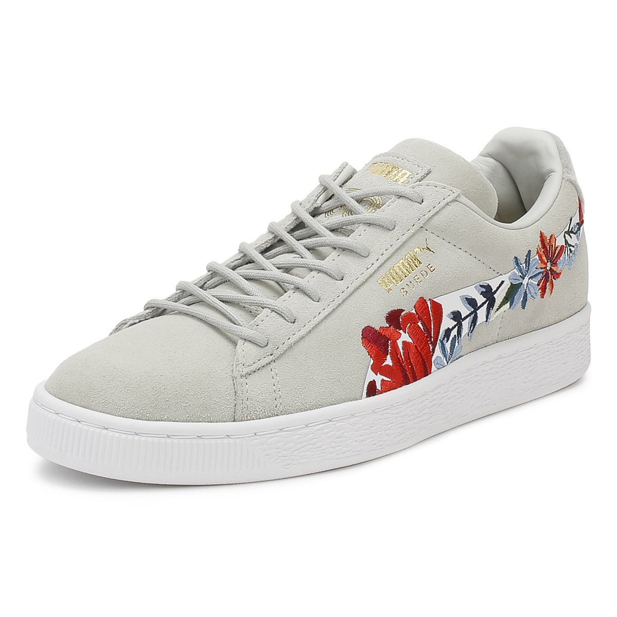 Details about PUMA Womens Trainers Glacier Grey Suede Classic Embroidery  Lace Up Casual Shoes b12a102cb