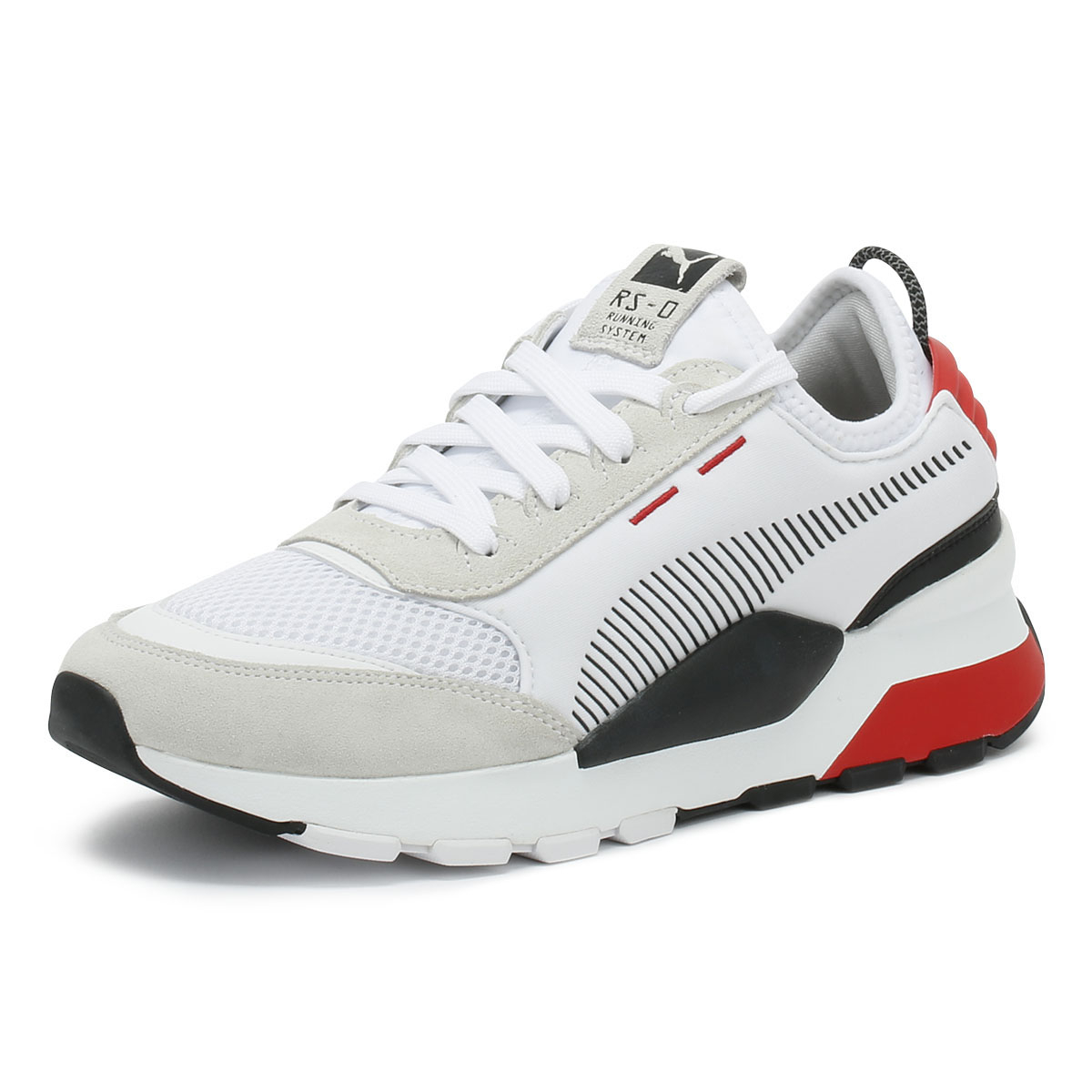938ae854cdc Details about PUMA RS-0 Toys Mens Trainers White   Red Lace Up Sport Casual Running  Shoes