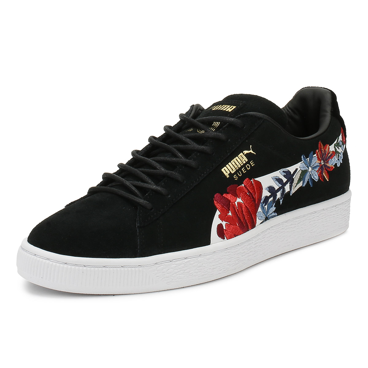 PUMA Womens Trainers Black Suede Classic Embroidery Lace Up Casual Shoes 46d6c2e8d